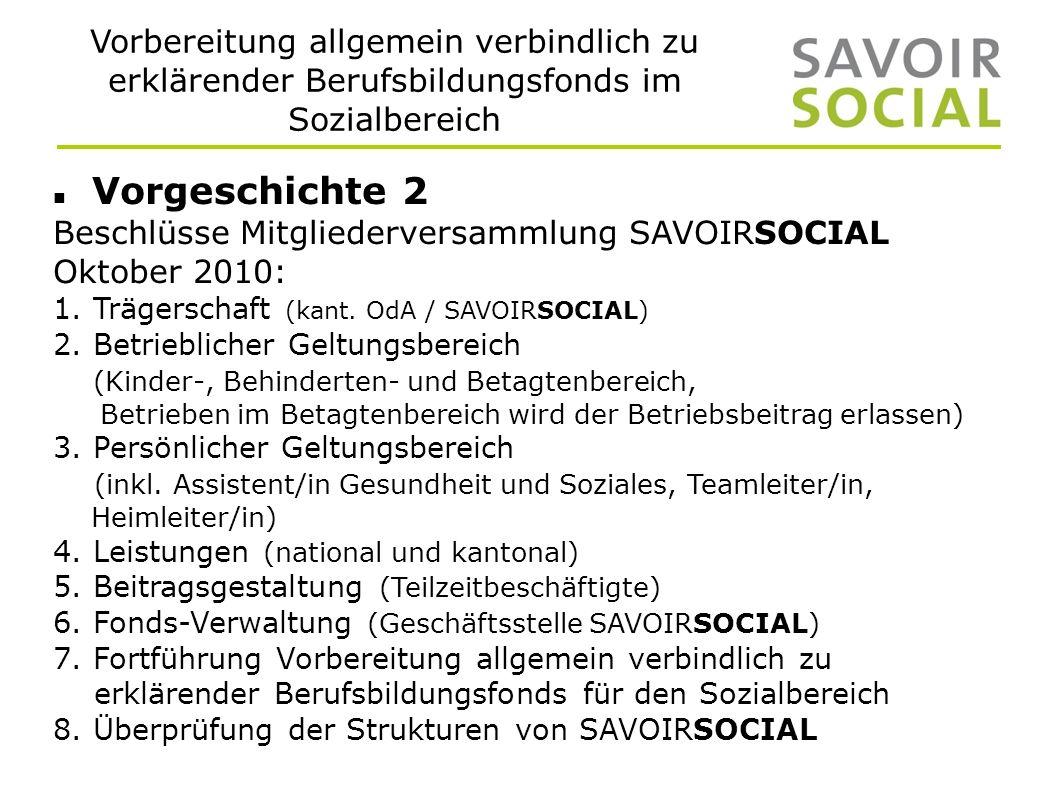 Vorbereitung allgemein verbindlich zu erklärender Berufsbildungsfonds im Sozialbereich Vorgeschichte 2 Beschlüsse Mitgliederversammlung SAVOIRSOCIAL Oktober 2010: 1.