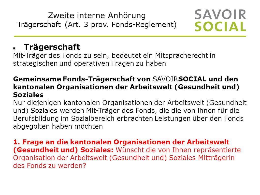 Zweite interne Anhörung Trägerschaft (Art. 3 prov.