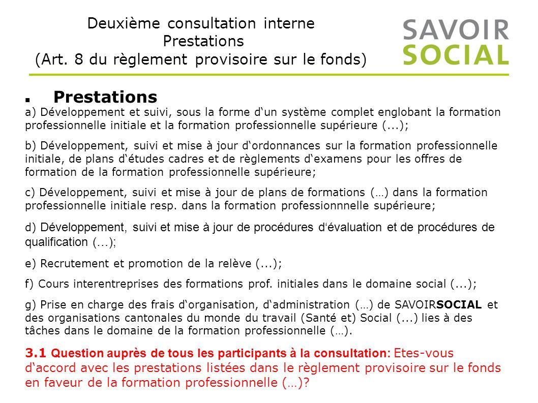 Deuxième consultation interne Prestations (Art.