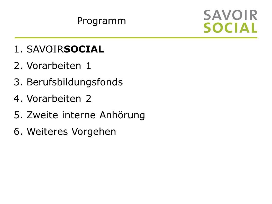 Programm 1. SAVOIRSOCIAL 2. Vorarbeiten 1 3. Berufsbildungsfonds 4.