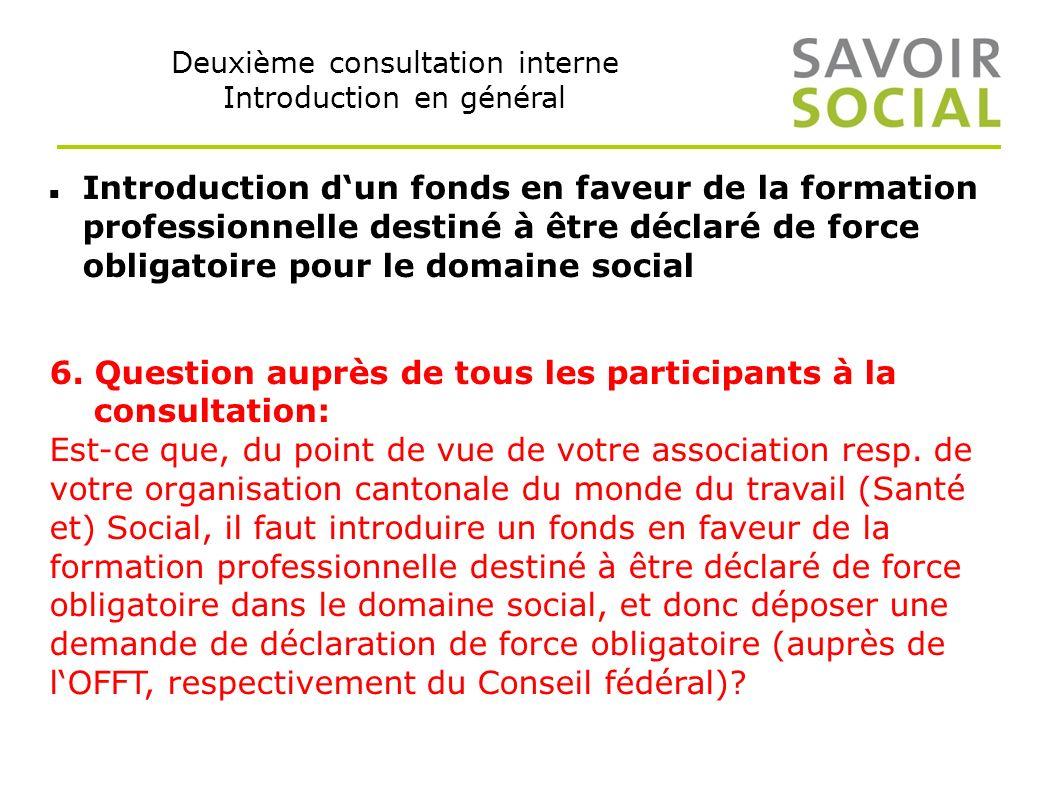 Deuxième consultation interne Introduction en général Introduction dun fonds en faveur de la formation professionnelle destiné à être déclaré de force obligatoire pour le domaine social 6.