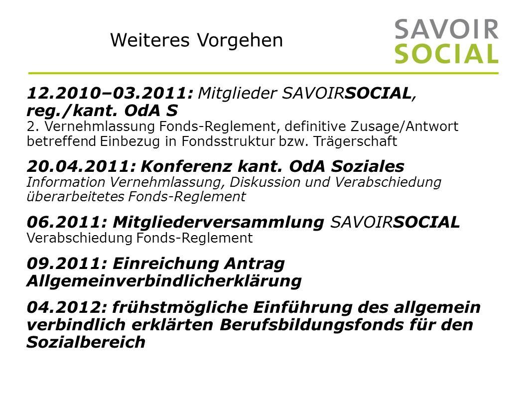 Weiteres Vorgehen 12.2010–03.2011: Mitglieder SAVOIRSOCIAL, reg./kant.