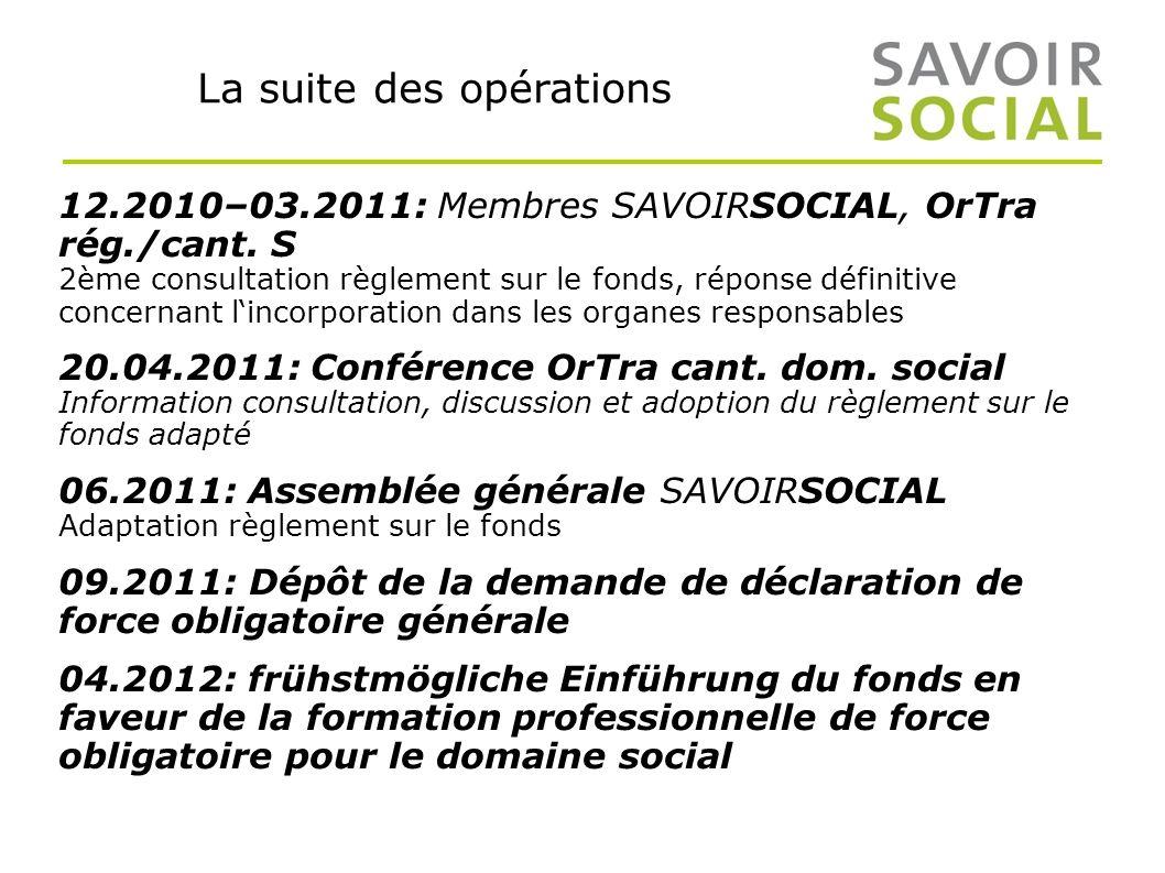 La suite des opérations 12.2010–03.2011: Membres SAVOIRSOCIAL, OrTra rég./cant.