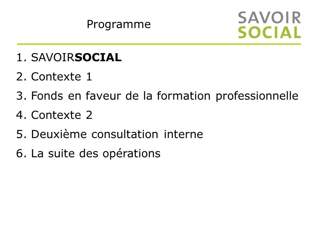 Programme 1. SAVOIRSOCIAL 2. Contexte 1 3. Fonds en faveur de la formation professionnelle 4.