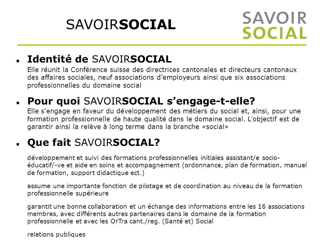 SAVOIRSOCIAL Identité de SAVOIRSOCIAL Elle réunit la Conférence suisse des directrices cantonales et directeurs cantonaux des affaires sociales, neuf associations demployeurs ainsi que six associations professionnelles du domaine social Pour quoi SAVOIRSOCIAL sengage-t-elle.