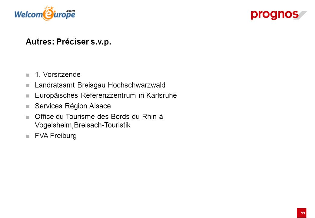 11 Autres: Préciser s.v.p. 1. Vorsitzende Landratsamt Breisgau Hochschwarzwald Europäisches Referenzzentrum in Karlsruhe Services Région Alsace Office
