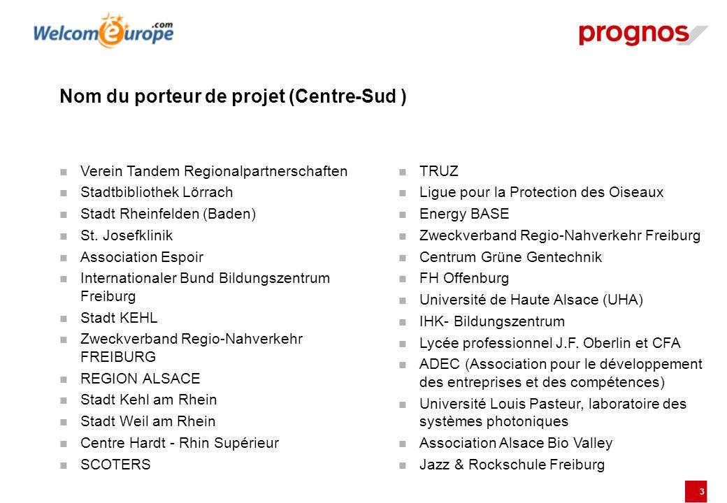 3 Nom du porteur de projet (Centre-Sud ) Verein Tandem Regionalpartnerschaften Stadtbibliothek Lörrach Stadt Rheinfelden (Baden) St. Josefklinik Assoc