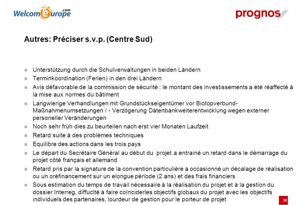 38 Autres: Préciser s.v.p. (Centre Sud) Unterstützung durch die Schulverwaltungen in beiden Ländern Terminkoordination (Ferien) in den drei Ländern Av