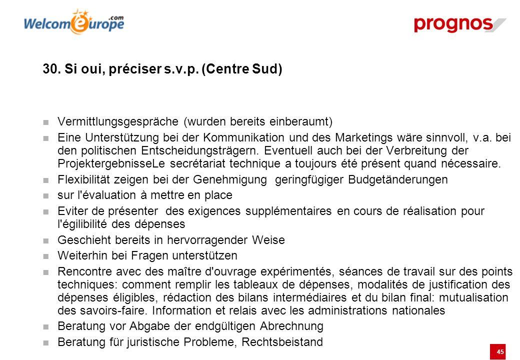 45 30. Si oui, préciser s.v.p. (Centre Sud) Vermittlungsgespräche (wurden bereits einberaumt) Eine Unterstützung bei der Kommunikation und des Marketi
