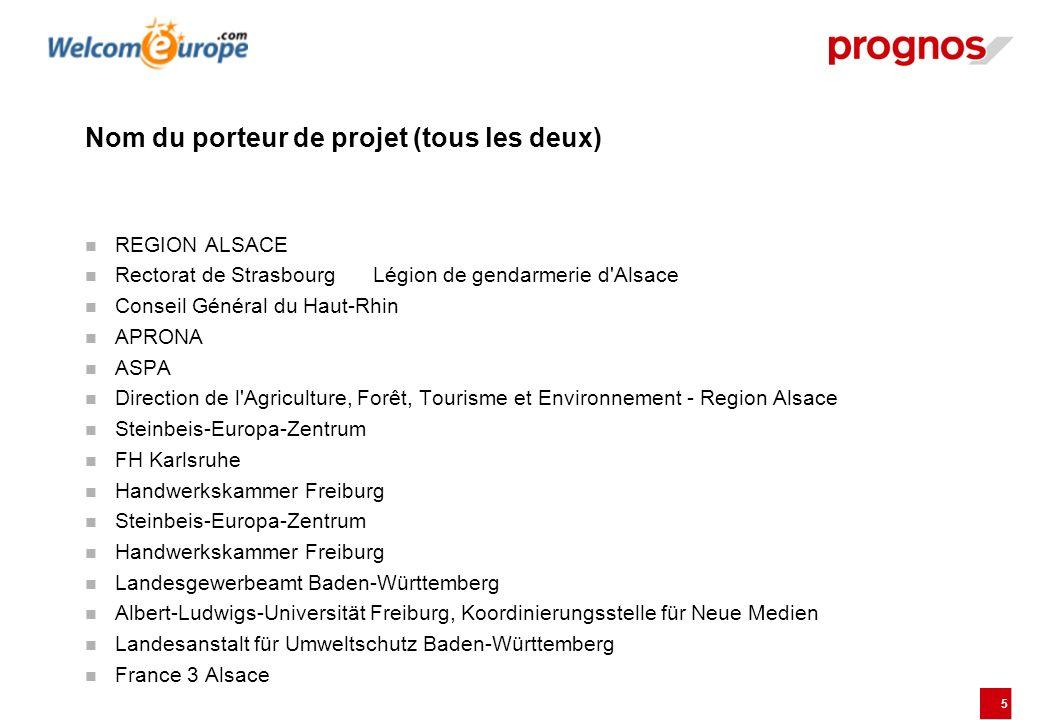 5 Nom du porteur de projet (tous les deux) REGION ALSACE Rectorat de StrasbourgLégion de gendarmerie d'Alsace Conseil Général du Haut-Rhin APRONA ASPA
