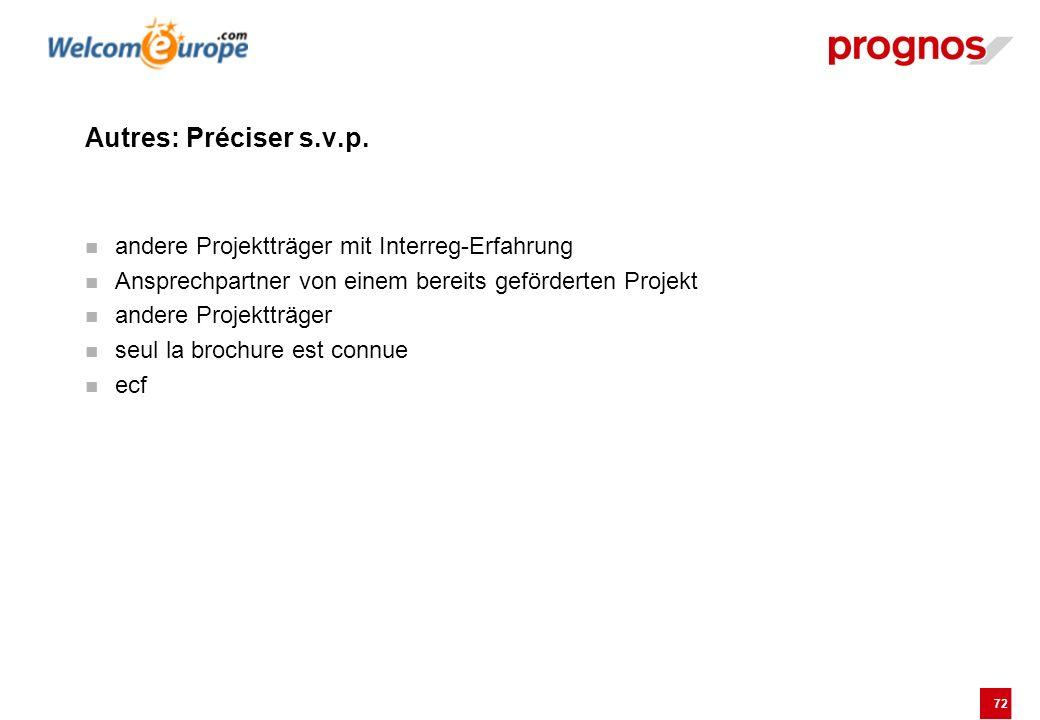 72 Autres: Préciser s.v.p. andere Projektträger mit Interreg-Erfahrung Ansprechpartner von einem bereits geförderten Projekt andere Projektträger seul