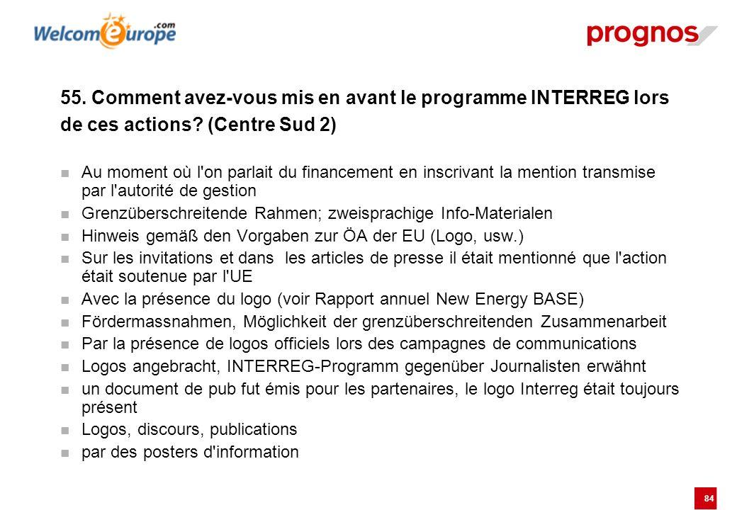 84 55. Comment avez-vous mis en avant le programme INTERREG lors de ces actions? (Centre Sud 2) Au moment où l'on parlait du financement en inscrivant