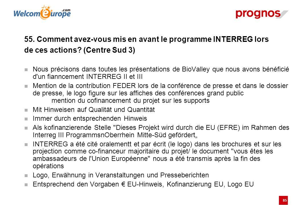 85 55. Comment avez-vous mis en avant le programme INTERREG lors de ces actions? (Centre Sud 3) Nous précisons dans toutes les présentations de BioVal