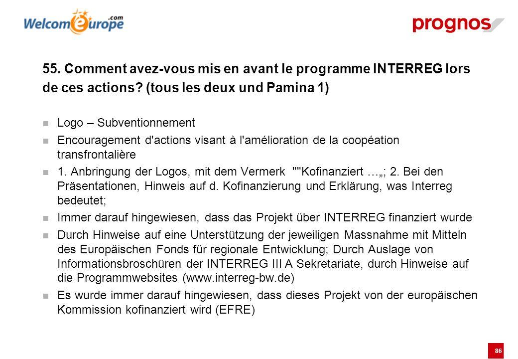 86 55. Comment avez-vous mis en avant le programme INTERREG lors de ces actions? (tous les deux und Pamina 1) Logo – Subventionnement Encouragement d'