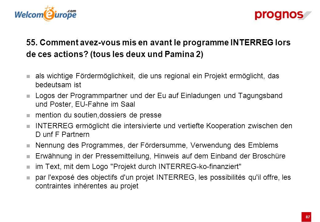 87 55. Comment avez-vous mis en avant le programme INTERREG lors de ces actions? (tous les deux und Pamina 2) als wichtige Fördermöglichkeit, die uns