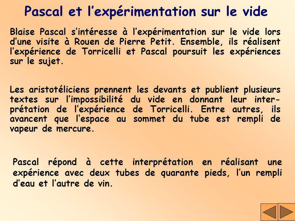Blaise Pascal sintéresse à lexpérimentation sur le vide lors dune visite à Rouen de Pierre Petit. Ensemble, ils réalisent lexpérience de Torricelli et