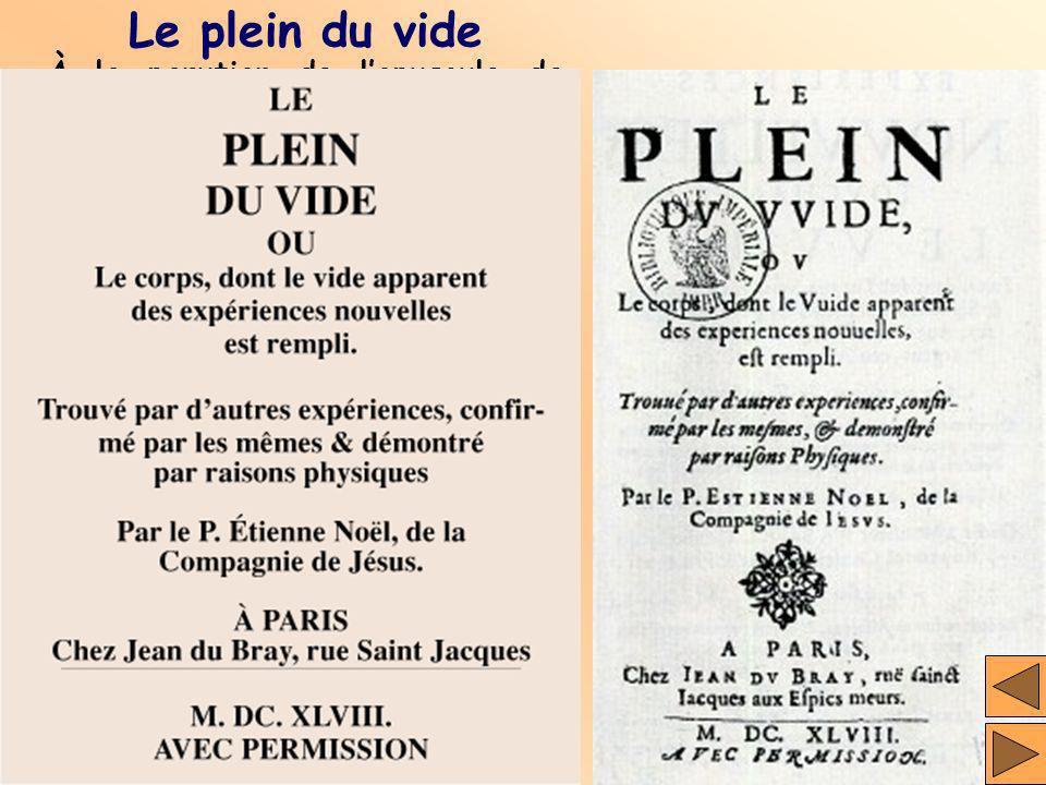 Le plein du vide À la parution de lopuscule de Pascal, le jésuite Étienne Noël lui adresse ses critiques dans une lettre, puis publiquement dans un au