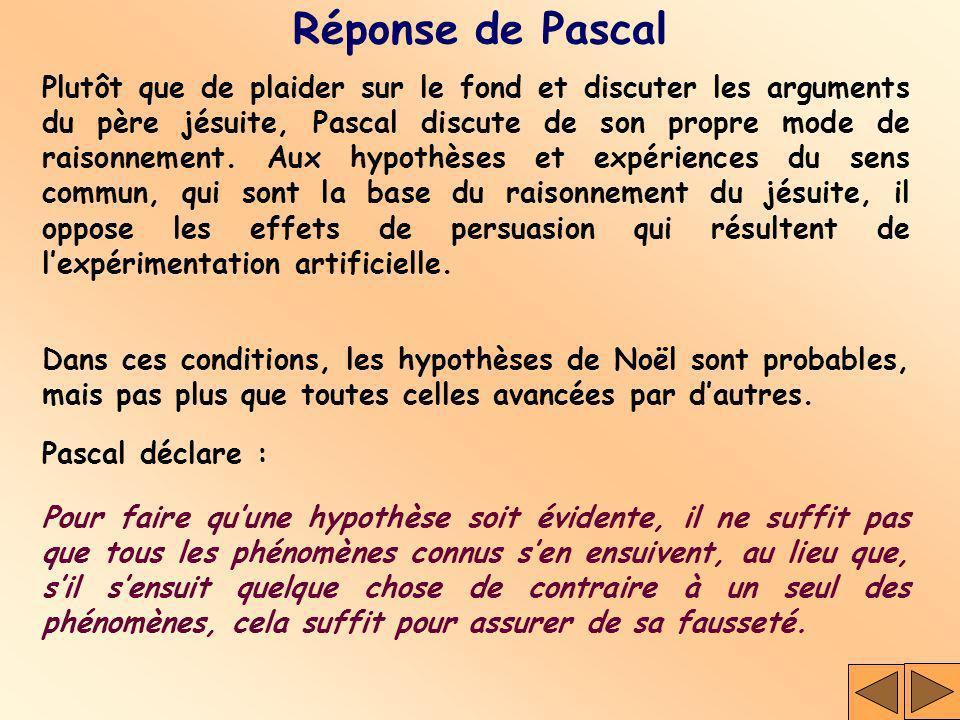 Réponse de Pascal Plutôt que de plaider sur le fond et discuter les arguments du père jésuite, Pascal discute de son propre mode de raisonnement. Aux