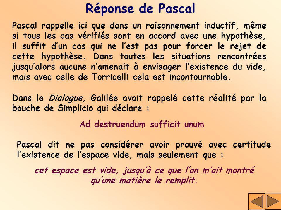 Réponse de Pascal Pascal rappelle ici que dans un raisonnement inductif, même si tous les cas vérifiés sont en accord avec une hypothèse, il suffit du