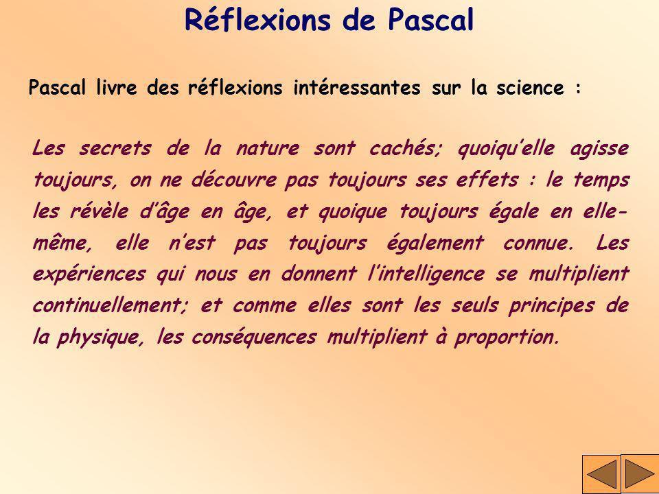 Réflexions de Pascal Pascal livre des réflexions intéressantes sur la science : Les secrets de la nature sont cachés; quoiquelle agisse toujours, on n