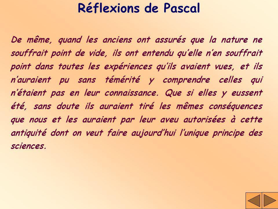 Réflexions de Pascal De même, quand les anciens ont assurés que la nature ne souffrait point de vide, ils ont entendu quelle nen souffrait point dans