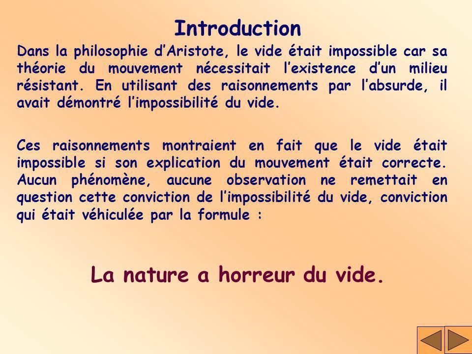Dans la philosophie dAristote, le vide était impossible car sa théorie du mouvement nécessitait lexistence dun milieu résistant. En utilisant des rais
