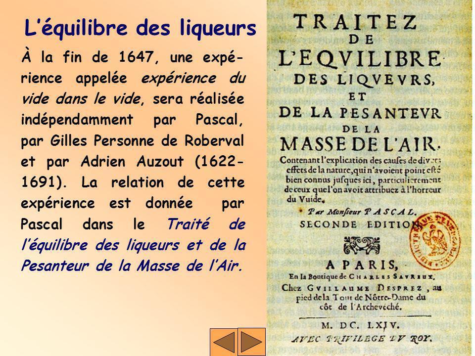 À la fin de 1647, une expé- rience appelée expérience du vide dans le vide, sera réalisée indépendamment par Pascal, par Gilles Personne de Roberval e