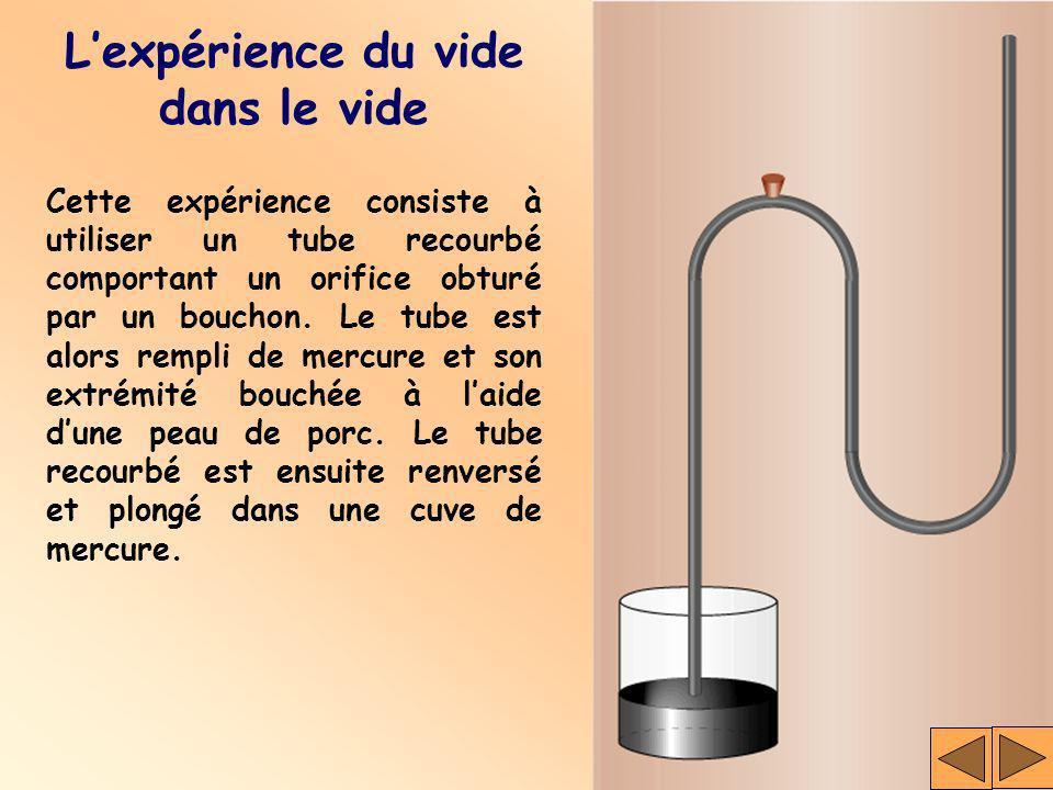 Cette expérience consiste à utiliser un tube recourbé comportant un orifice obturé par un bouchon. Le tube est alors rempli de mercure et son extrémit