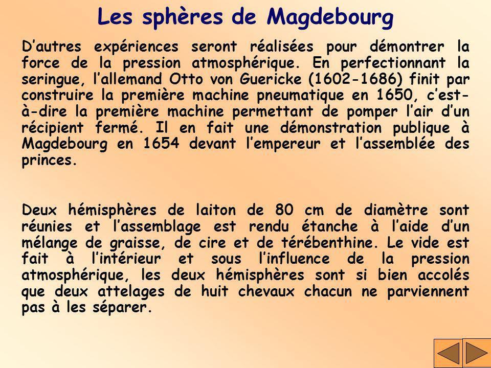 Les sphères de Magdebourg Dautres expériences seront réalisées pour démontrer la force de la pression atmosphérique. En perfectionnant la seringue, la