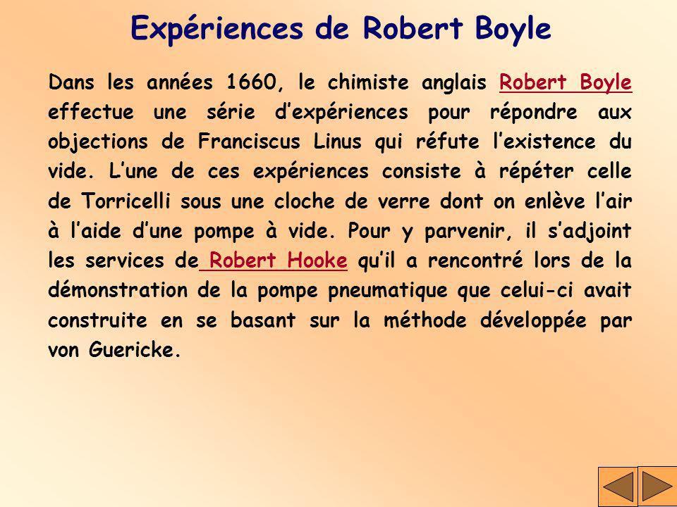 Expériences de Robert Boyle Dans les années 1660, le chimiste anglais Robert Boyle effectue une série dexpériences pour répondre aux objections de Fra
