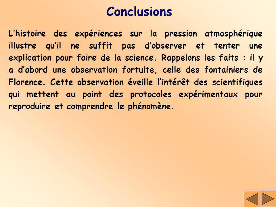 Conclusions Lhistoire des expériences sur la pression atmosphérique illustre quil ne suffit pas dobserver et tenter une explication pour faire de la s