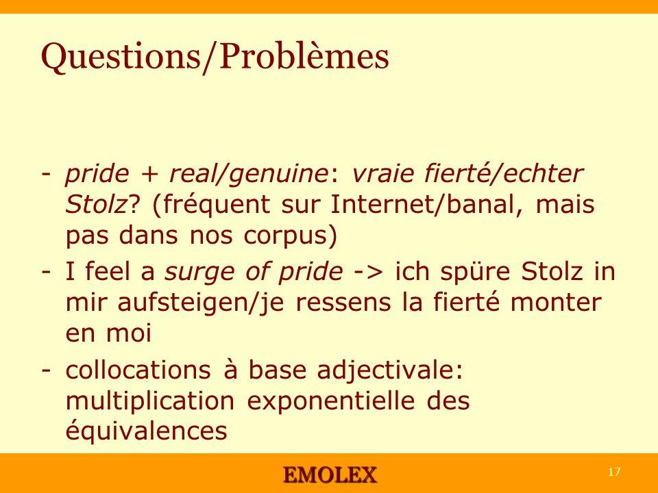 Questions/Problèmes -pride + real/genuine: vraie fierté/echter Stolz? (fréquent sur Internet/banal, mais pas dans nos corpus) -I feel a surge of pride
