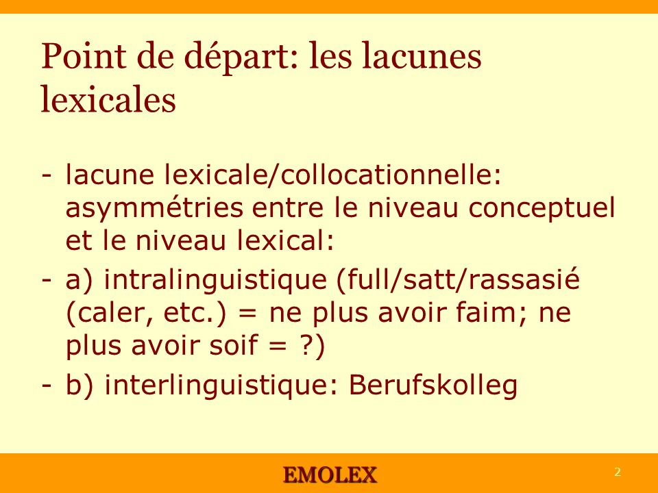 Point de départ: les lacunes lexicales -lacune lexicale/collocationnelle: asymmétries entre le niveau conceptuel et le niveau lexical: -a) intralinguistique (full/satt/rassasié (caler, etc.) = ne plus avoir faim; ne plus avoir soif = ) -b) interlinguistique: Berufskolleg EMOLEX 2
