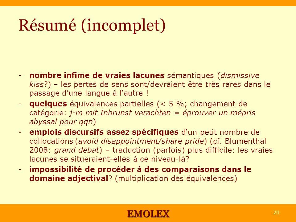Résumé (incomplet) -nombre infime de vraies lacunes sémantiques (dismissive kiss?) – les pertes de sens sont/devraient être très rares dans le passage