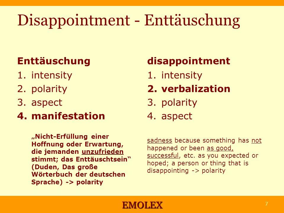 Disappointment - Enttäuschung Enttäuschung 1. intensity 2. polarity 3. aspect 4. manifestation Nicht-Erfüllung einer Hoffnung oder Erwartung, die jema