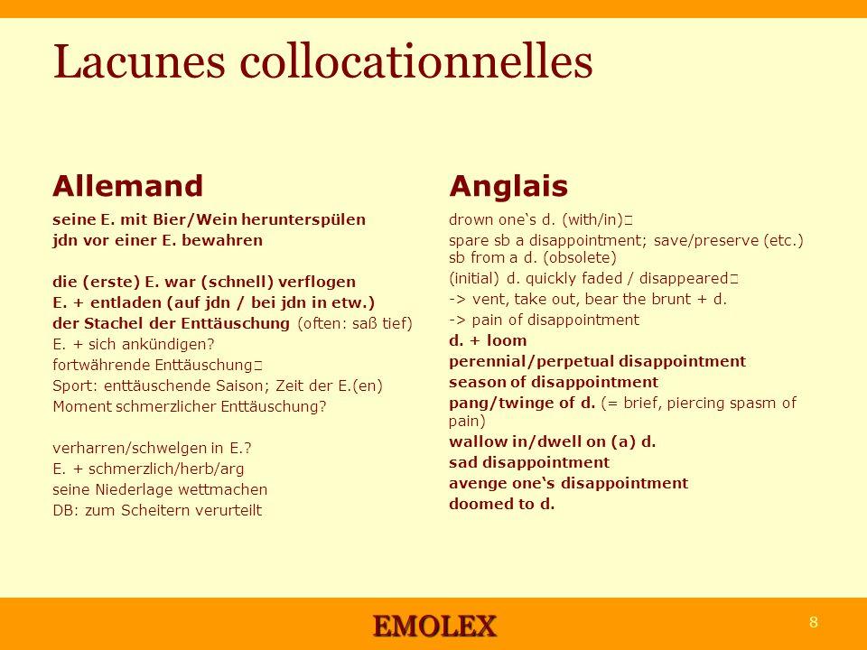 Lacunes collocationnelles Allemand seine E. mit Bier/Wein herunterspülen jdn vor einer E. bewahren die (erste) E. war (schnell) verflogen E. + entlade