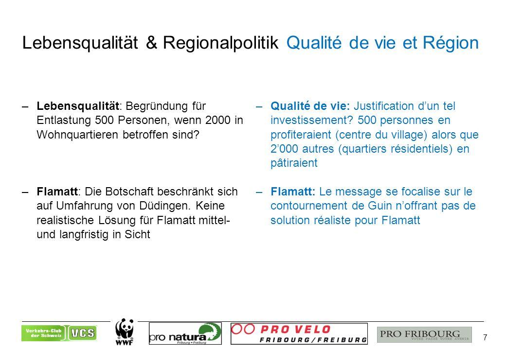 7 Lebensqualität & Regionalpolitik Qualité de vie et Région –Lebensqualität: Begründung für Entlastung 500 Personen, wenn 2000 in Wohnquartieren betroffen sind.