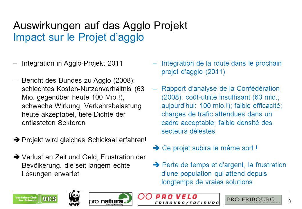 8 Auswirkungen auf das Agglo Projekt Impact sur le Projet dagglo –Integration in Agglo-Projekt 2011 –Bericht des Bundes zu Agglo (2008): schlechtes Kosten-Nutzenverhältnis (63 Mio.