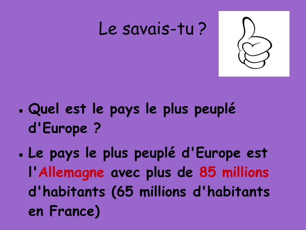 Le savais-tu ? Quel est le pays le plus peuplé d'Europe ? Le pays le plus peuplé d'Europe est l'Allemagne avec plus de 85 millions d'habitants (65 mil