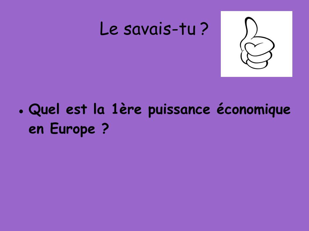 Le savais-tu ? Quel est la 1ère puissance économique en Europe ?