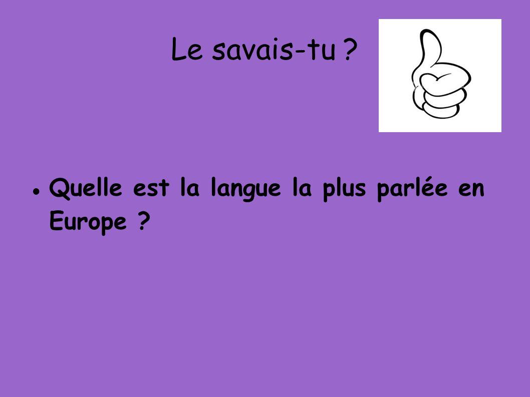 Le savais-tu ? Quelle est la langue la plus parlée en Europe ?