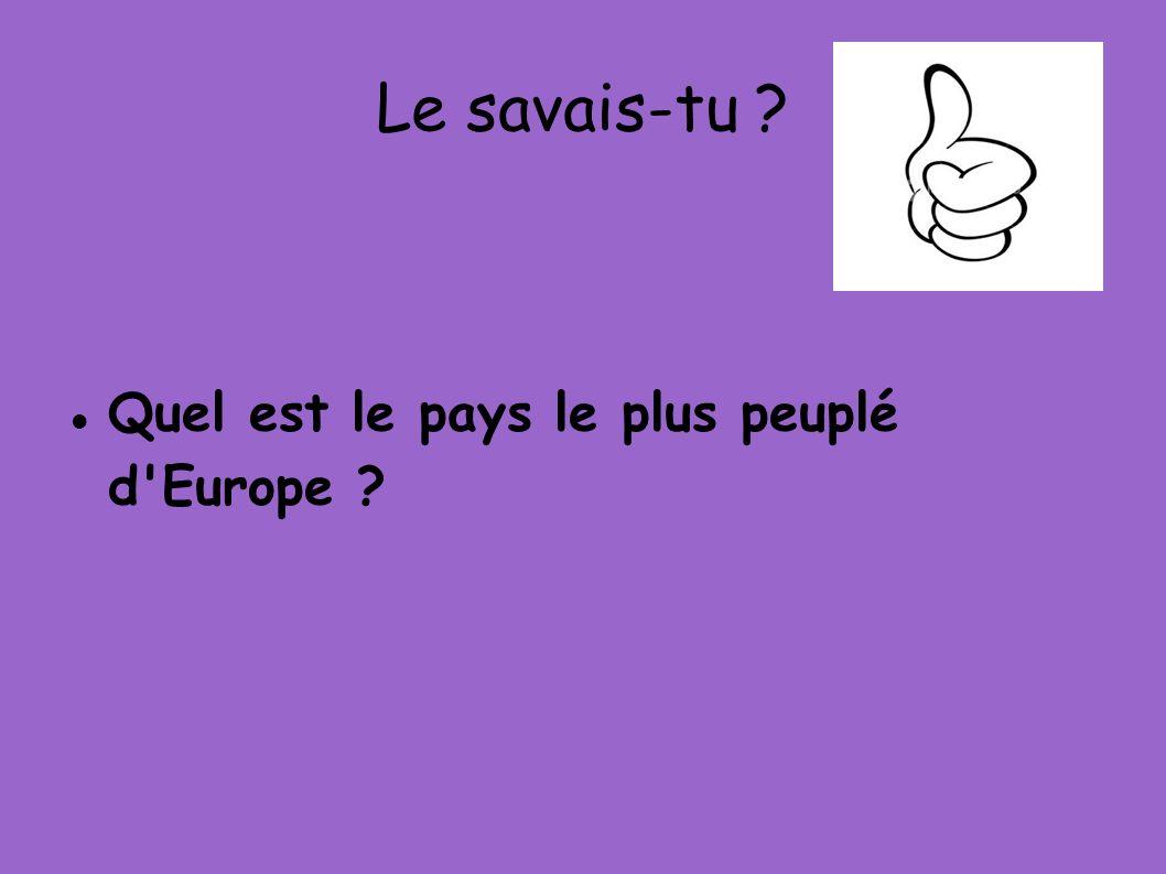 Le savais-tu ? Quel est le pays le plus peuplé d'Europe ?