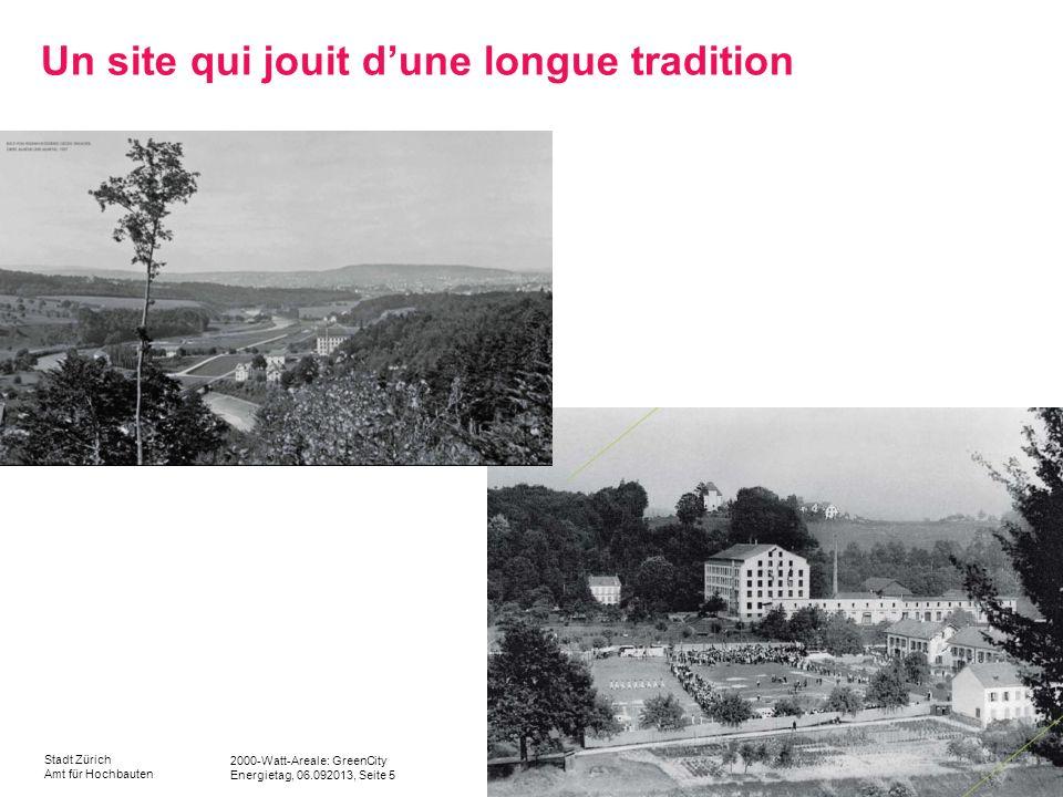 2000-Watt-Areale: GreenCity Energietag, 06.092013, Seite 5 Stadt Zürich Amt für Hochbauten Un site qui jouit dune longue tradition