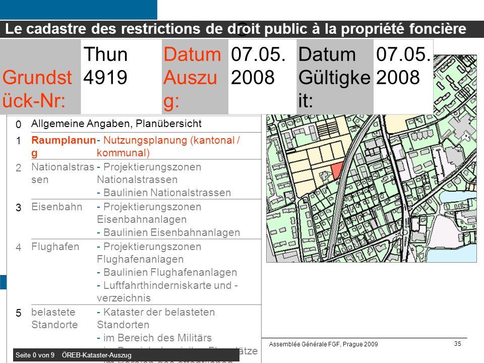 35 Office fédéral de topographie swisstopo Assemblée Générale FGF, Prague 2009 S0 Allgemeine Angaben, Planübersicht Links zu Rechtssammlungen Kommunal