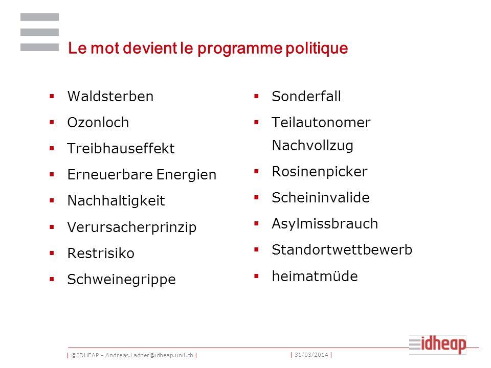 | ©IDHEAP – Andreas.Ladner@idheap.unil.ch | | 31/03/2014 | Programme 1.La société est en train de changer 2.Caractéristiques de la communication étatique 3.Le principe de la transparence 4.Les lignes directrices 5.La communication lors des campagnes des votations 6.Présence suisse 7.E-Government and E-Democracy