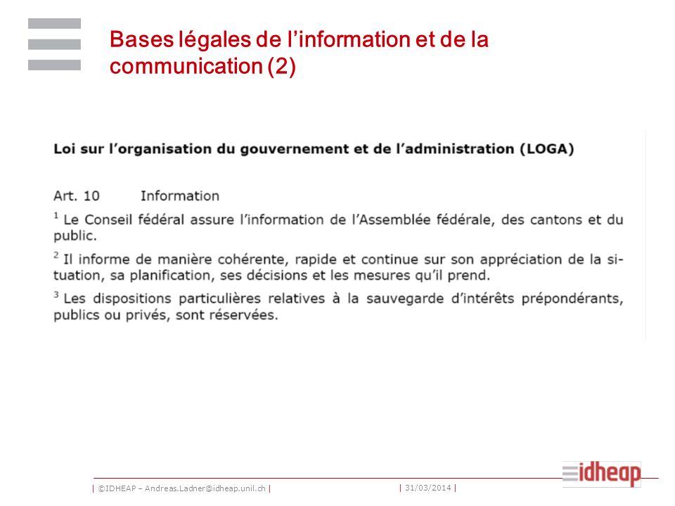 | ©IDHEAP – Andreas.Ladner@idheap.unil.ch | | 31/03/2014 | Bases légales de linformation et de la communication (2)