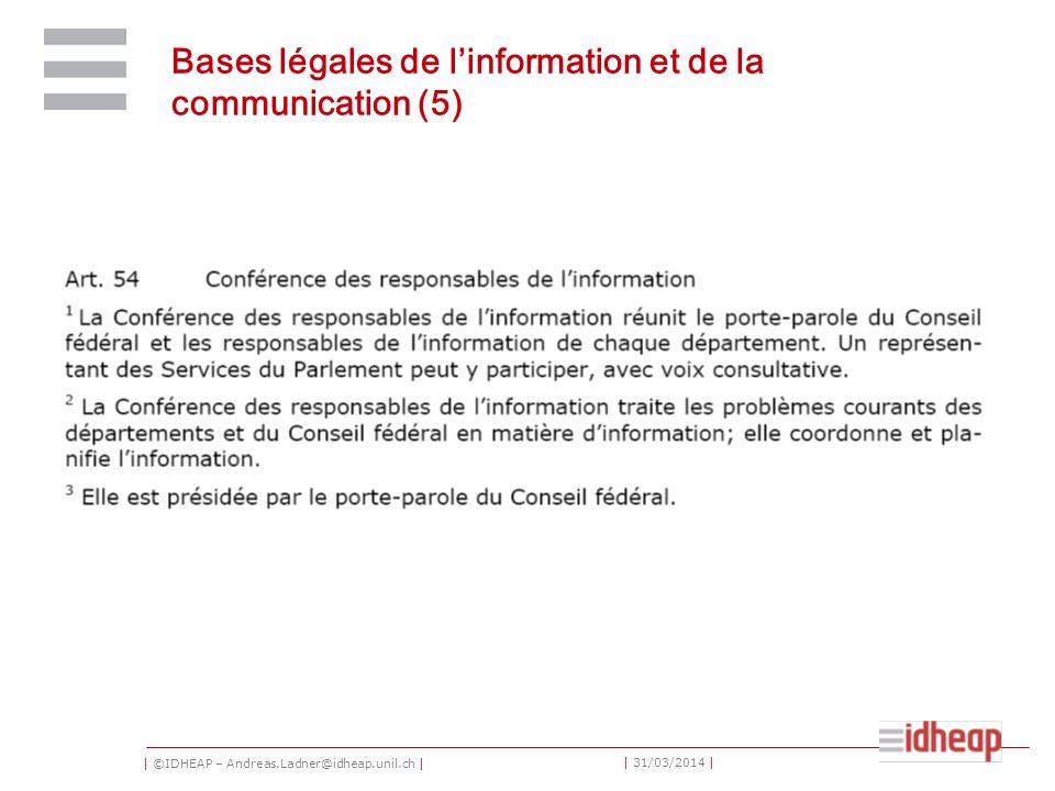 | ©IDHEAP – Andreas.Ladner@idheap.unil.ch | | 31/03/2014 | Bases légales de linformation et de la communication (5)