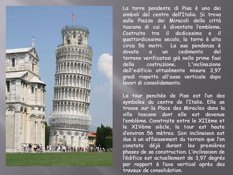 La torre pendente di Pisa è uno dei simboli del centro dellItalia. Si trova sulla Piazza dei Miracoli della città toscana di cui è diventata lemblema.