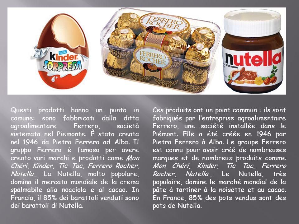 Questi prodotti hanno un punto in comune: sono fabbricati dalla ditta agroalimentare Ferrero, società sistemata nel Piemonte. È stata creata nel 1946