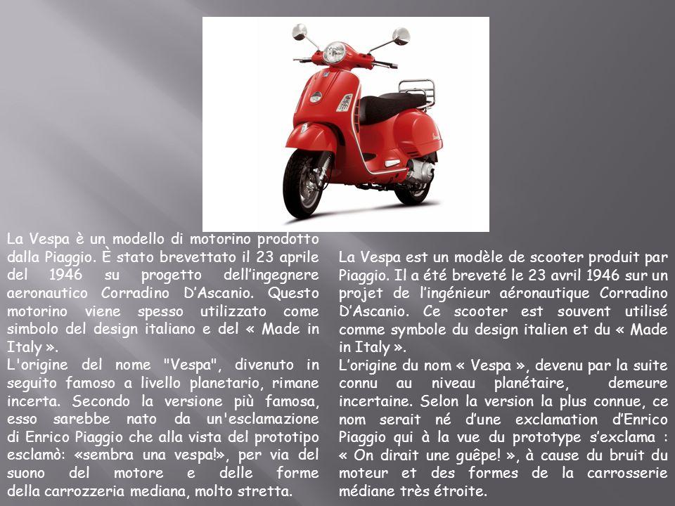 La Vespa è un modello di motorino prodotto dalla Piaggio. È stato brevettato il 23 aprile del 1946 su progetto dellingegnere aeronautico Corradino DAs